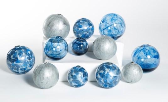 Set of 12 Spheres in Shimmering Dawn, Raindrops & Aquatic Haze