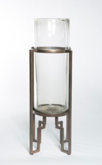 Clear Cylinder with Metal Base in Bronze