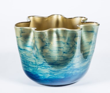 Ruffle Bowl in Sapphire Seas Finish