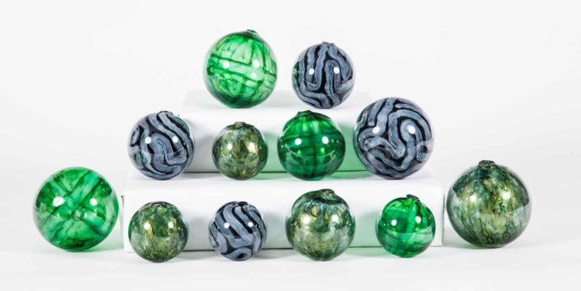 Set of 12 Spheres in Harmony, Sea Glass and Aquatic Emerald Finish