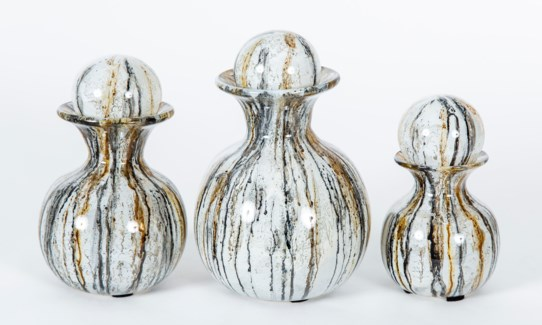 Set of 3 Bulb Bottles w/ Tops in Gray Whisper Finish