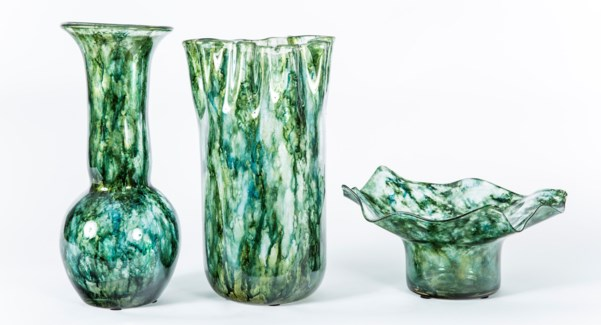 Vases & Bowl Set in Sea Glass Finish