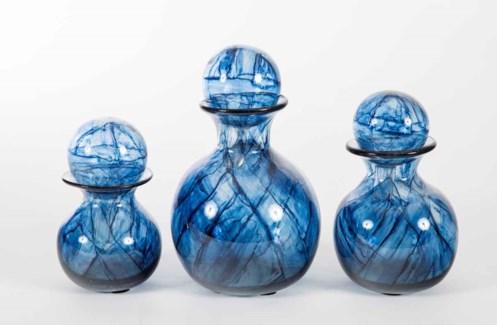 Set of 3 Bulb Bottles w/ Tops in Aquatic Haze Finish