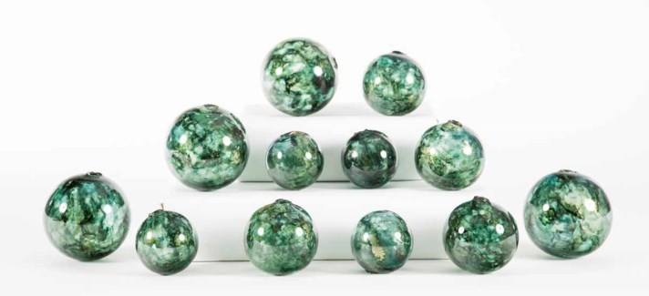 Set of 12 Spheres in Sea Glass Finish