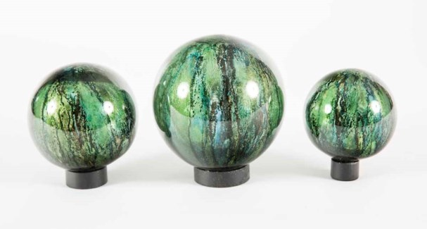 Set of 3 Glass Balls on Iron Ring Stands in Palmetto Finish