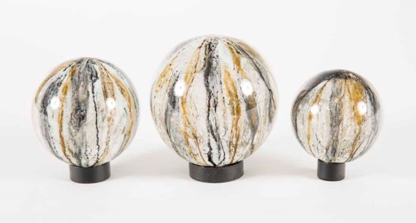 Set of 3 Glass Balls on Iron Ring Stands in Gray Whisper Finish