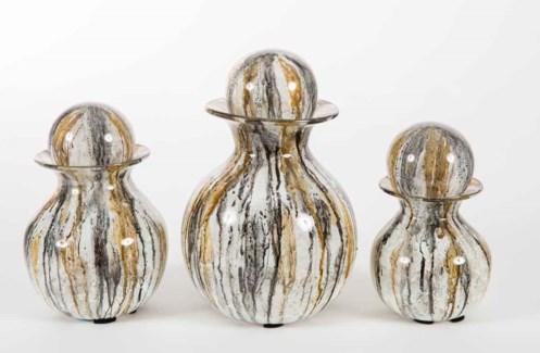 Set of 3 Bulb Bottles w/ Tops in Gray Whisper