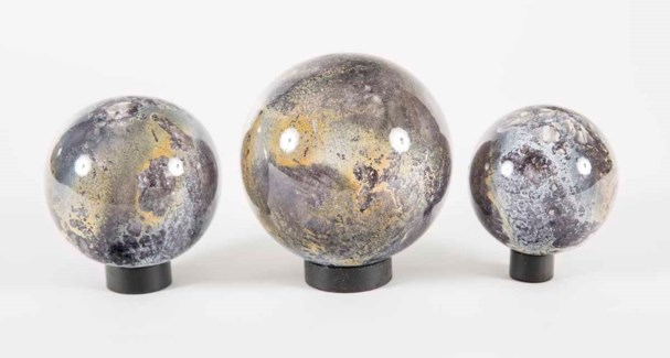 Set of 3 Glass Balls on Iron Ring Stands in Supernova Finish