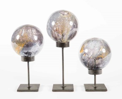Set of 3 Glass Balls on Stands in Supernova Finish