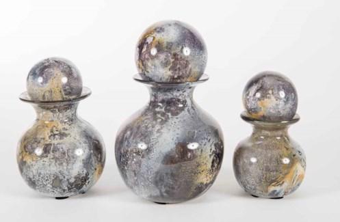 Set of 3 Bulb Bottles w/ Tops in Supernova Finish