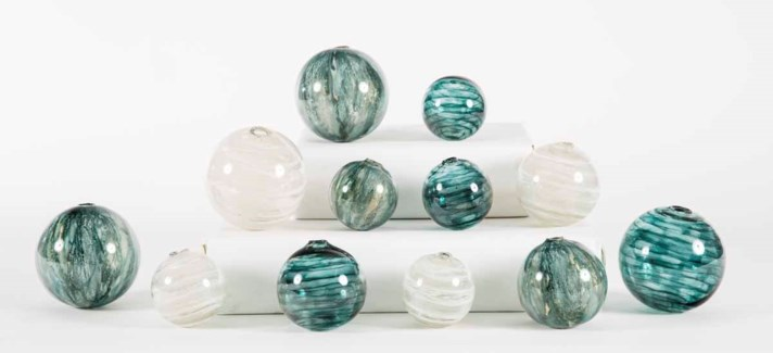 Set of 12 Spheres in Tidewater, Caribe, and Glacier Valley Finish