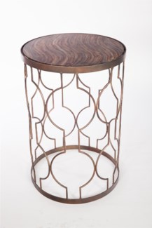 Retro Pattern Accent Table with Glass Top in Stone Court Finish