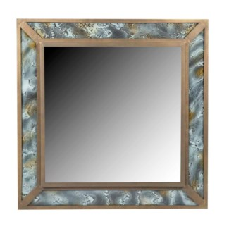 Griffin Square Mirror in Antique Brass with Glass Inserts in Agate Finish