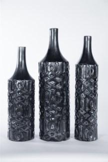 Medium Embossed Vase in Caldron Finish