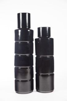 Large Floor Cylinder in High Gloss Black Finish