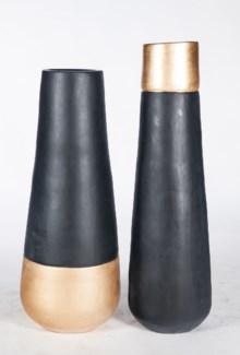 Medium Vase in Black Gold