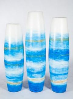 Large Barrel Floor Vase in Aqua Glow