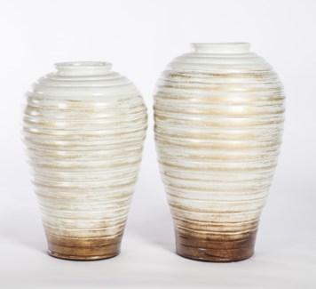 Large Ribbed Vase in Vintage Ivory
