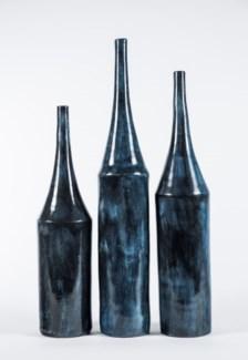 Large Tall Neck Vase in Bauhaus Black Finish