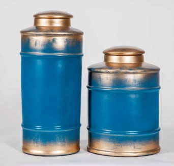 Large Tea Canister in Crystal Lake Finish