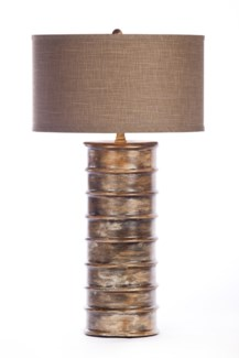 """""""Nichols Table Lamp in Tapestry Finish with Grey/White 18"""""""" Drum Shade"""""""