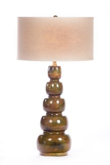 """""""Juliet Table Lamp in Olive Tree Finish with linen/White 18"""""""" Drum Shade"""""""