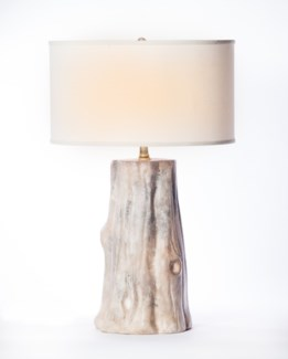 """""""Austin Table Lamp in Artifact Finish with 18"""""""" Drum Shade in White with White Lining"""""""