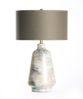 """Victoria Table Lamp in Patagonia with 18"""" Grey/White Drum Shade"""
