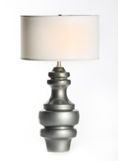 """Charlotte Large Ringed Table Lamp in Mercury with 18"""" White/White Drum Shade"""