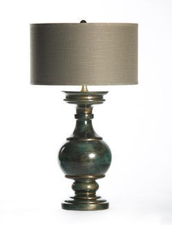 """Olivia Table Lamp in Havana with 18"""" Grey/White Drum"""