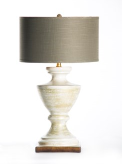 """Sofia Table Lamp in Vintage Ivory with 18"""" Grey/Gold Drum Shade"""