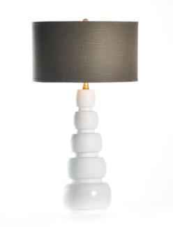 """Juliet Table Lamp in Bianca with 18"""" Grey/Gold Drum Shade"""