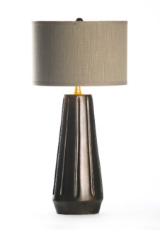 """Marley Table Lamp in Cast Iron with 15"""" Grey/Gold Drum Shade"""