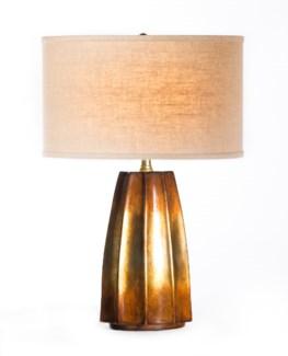 """Joseph Table Lamp in Feldspar with 15"""" Linen/White Drum Shade"""