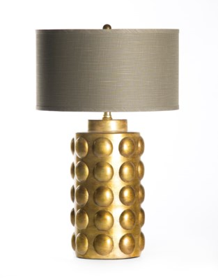 """Zoey Table Lamp in Saffron with 18"""" Grey/Gold Drum Shade"""