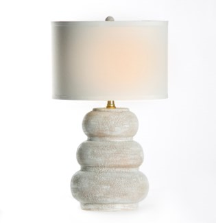 """Conner Table Lamp in Vintage Blanco with 15"""" White/White Drum Shade"""