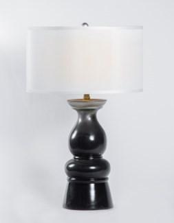 "Mason Table Lamp in Black Pearl w/ 18"" White/White Drum Shade"