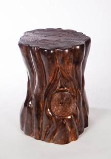 Tree Stump Side Table in Old Redwood Finish