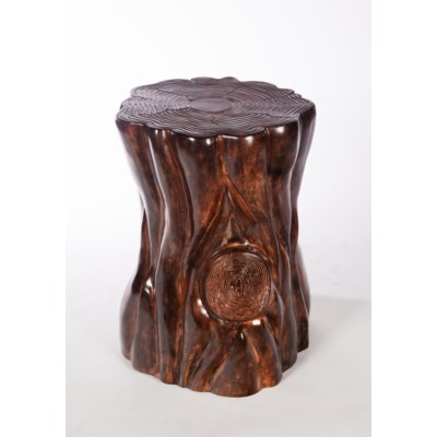 Tree Stump Side Table In Old Redwood Finish Sculpture Prima - Redwood side table