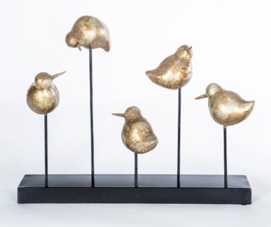 Bird Sculpture on Stand in Gold Nugget Finish