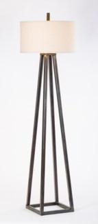 "Harmon Pyramid Iron Floor Lamp with 18"" Linen/White Drum Shade"