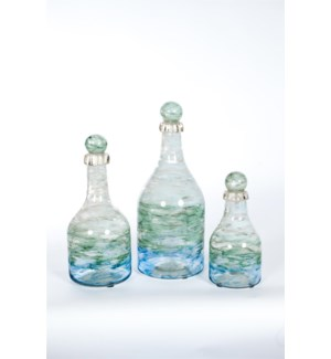Bottles with Tops Set of 3 in Ocean Finish