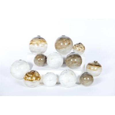 Set of 12 Spheres in Solid Amethyst, Gravity & Smoke