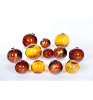 """""""Set of Spheres - 3"""""""", 4"""""""", 5"""""""" in Mango Wood, Burnt Earth & Amber"""""""