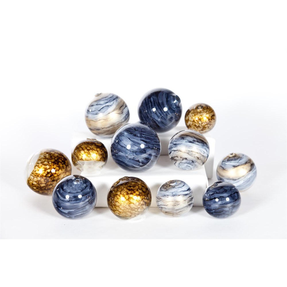 Set of 12 Spheres in Glimmer, Mythic, Cheers Finish