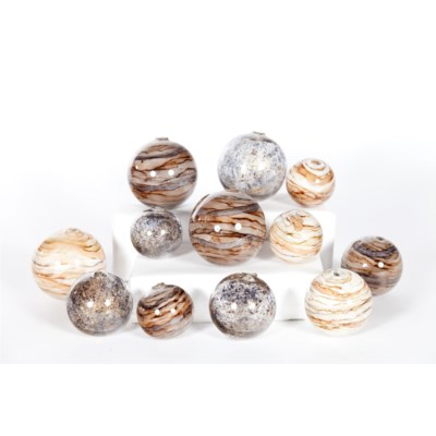 Set of 12 Spheres in Stone Court, Driftstone, Sanderling Finish