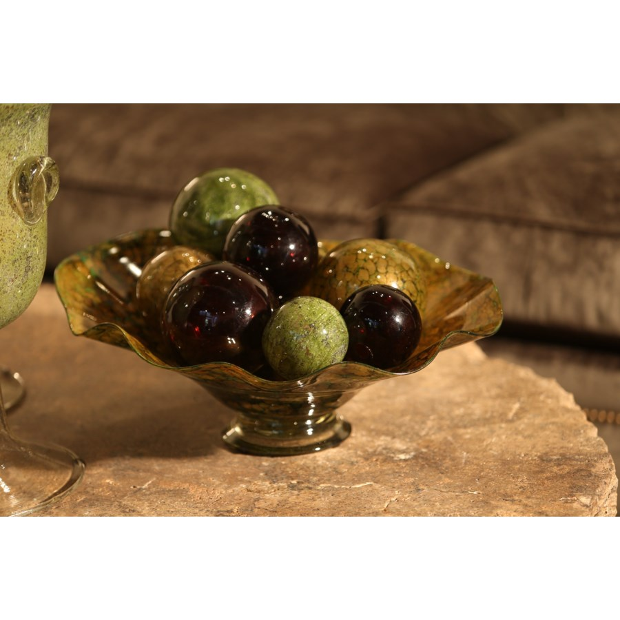 Set of 12 Spheres in Olive Tree, Gypsy Leather, Green Tea