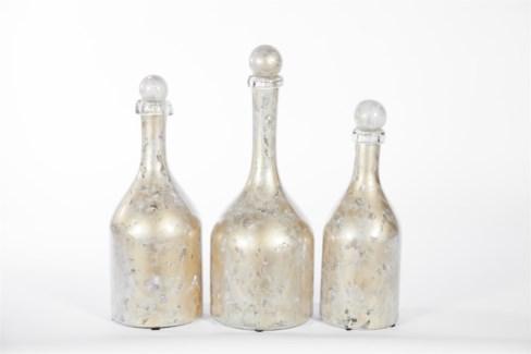 Bottles w/ Tops Set of 3 in Dappled Light Finish