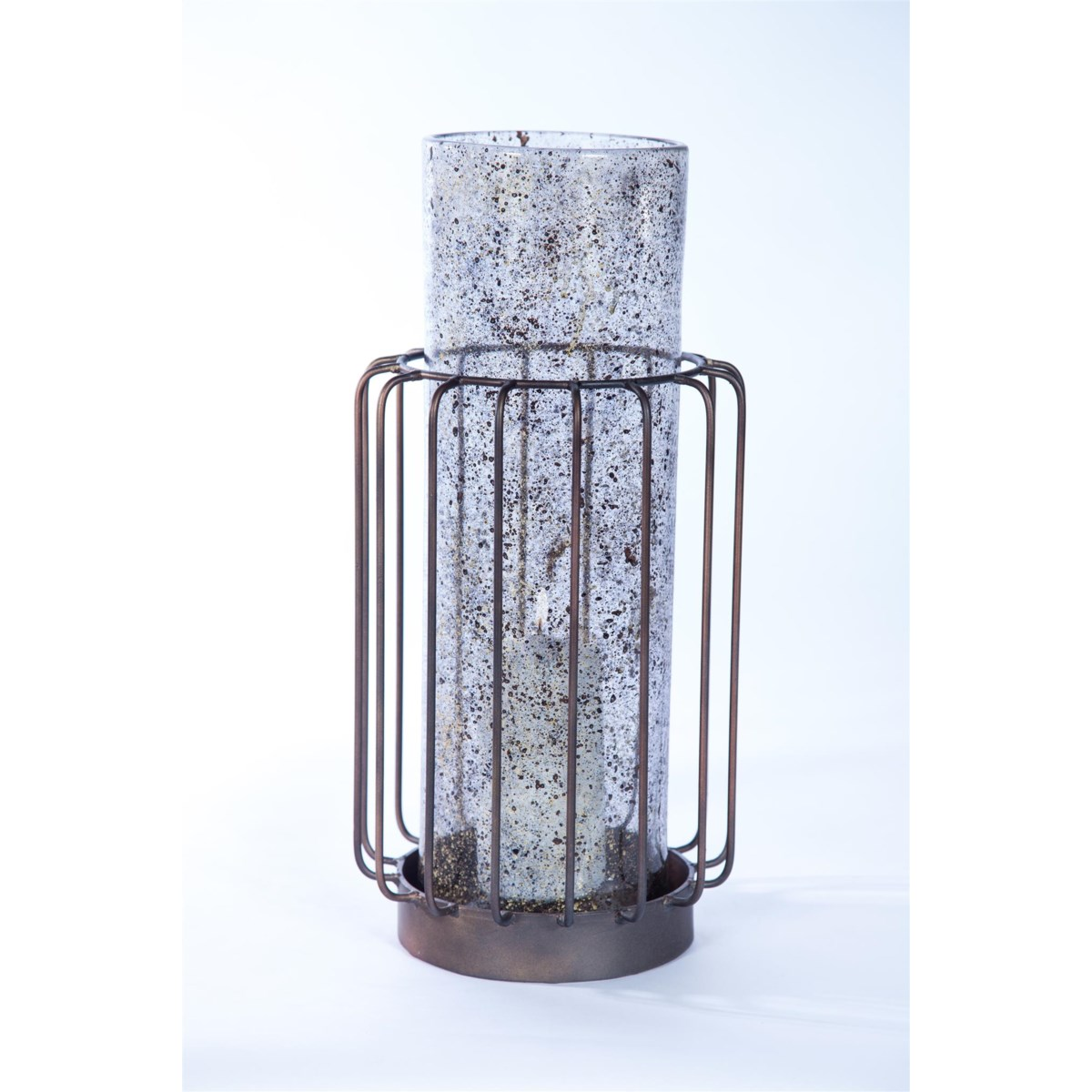 Large Cylinder w/ Metal Base in Driftstone Finish