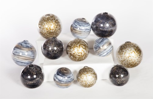 Set of 12 Spheres in Emperor's Stone, Cheers & Sea Pearls